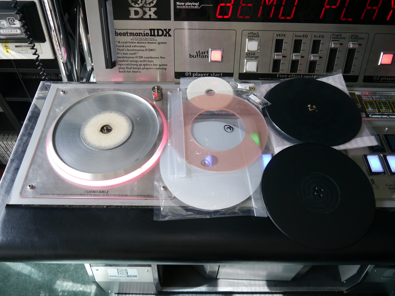 IIDX turntable parts spread out on the control deck