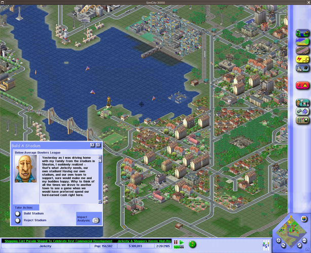 A screenshot of the Loki Software port of Simcity 3000 Unlimited running on FreeBSD via the Linuxulator.