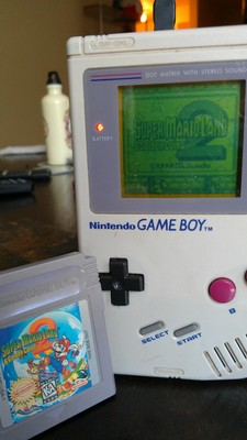 Original model Game Boy running Super Mario Land 2 on the EMS cart, flashed on FreeBSD.