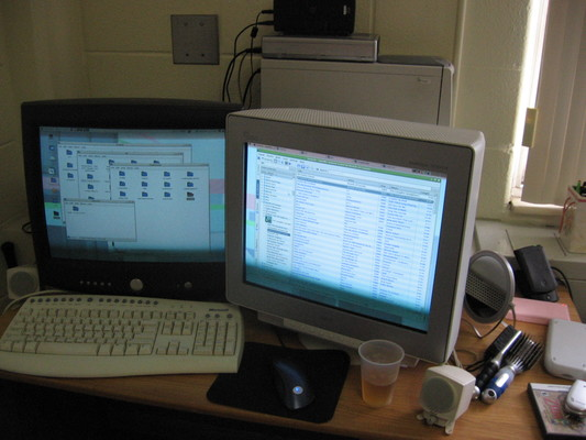Dual ninteen-inch CRT displays, Microsoft keyboard, and blue Logitech optical mouse on a desk next to hair brushes, makeup mirror, coral pink Nintendo DS Lite, and Palm m505.