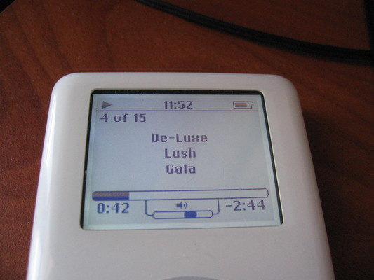A fourth-generation iPod running the Rockbox alternative firmware with an iPod-lookalike skin.