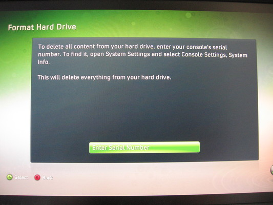 Xbox dashboard asking for system serial number before it will format the hard disk.
