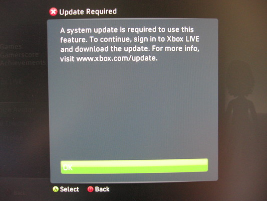 Xbox 360 dashboard prompting for a firmware update when trying to use the Avatar editor on this fresh hard disk.