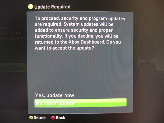 Xbox 360 Dashboard prompting to install an update to the same version that is running due to missing NXE files.