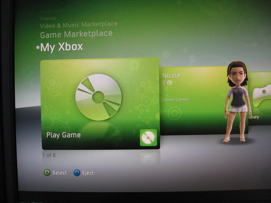 Xbox 360 Dashboard showing Avatar created after successfully swapping the hard disk and installing the missing files.