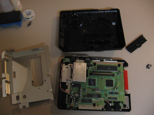 Model 1 Mega Drive console with top case and metal shielding removed.