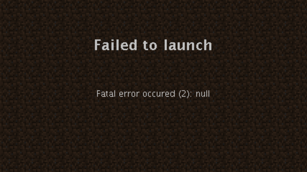 "Minecraft launcher showing a ""Failed to launch"" error"
