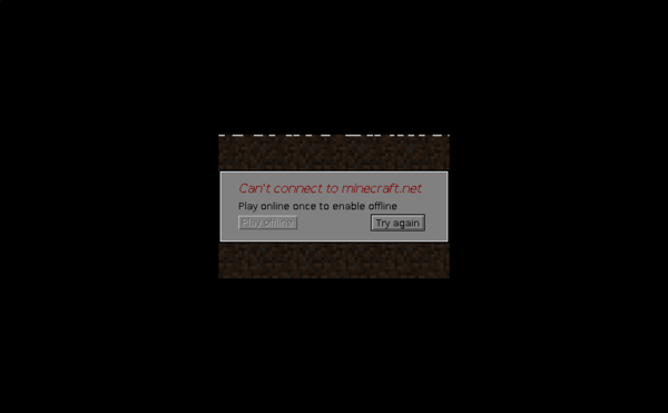"Minecraft launcher showing a ""Can't connect to minecraft.net"" error."