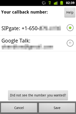 Google Voice Callback selecting my sipgate number for callback.