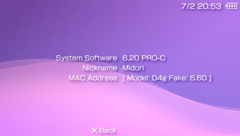 PSP 6.20 about screen