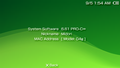 PSP 6.61 about screen