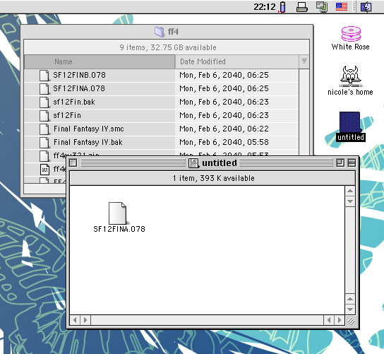 Mac OS 9 Finder showing file copy to diskette.