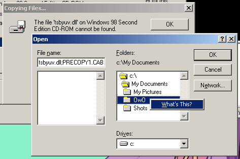 Windows file dialog in Device Manager