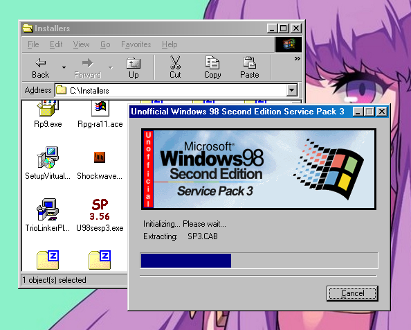 Windows 98 SE Unofficial Service Pack 3 installer