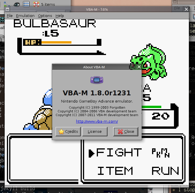 Pokémon Red full color hack running in VBA-M r1231.