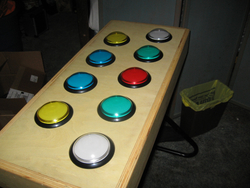The finished controller on a keyboard stand ready for play.