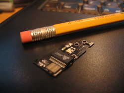 Size comparison between Cyclowiz modchip and #2 pencil.