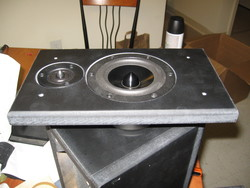 Front speaker baffle with drivers attached.