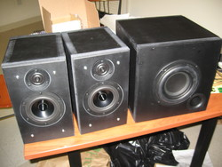 The finished set of speakers lined up side-by-side of a table.