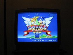 Sonic the Hedgehog 2 title screen on S-Video.