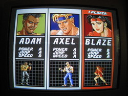 Streets of Rage character selection screen on S-Video.