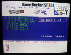 Game Doctor SF-III loading patched Final Fantasy IV image from diskette.